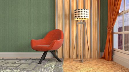 interior with chair. 3d illustration. 写真素材 - 131732994