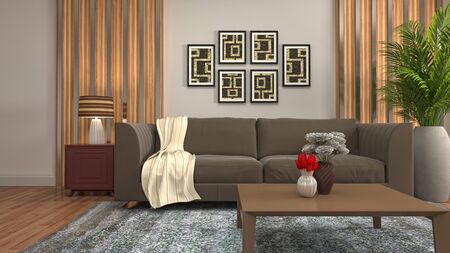 Interior of the living room. 3D illustration. 写真素材 - 131732996