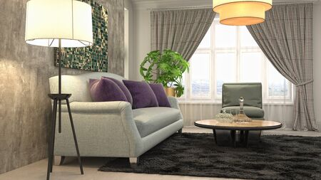 Interior of the living room. 3D illustration. 写真素材 - 131732998