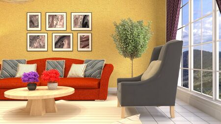 Interior of the living room. 3D illustration. 写真素材 - 131733037