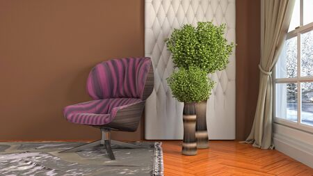 interior with chair. 3d illustration. 写真素材 - 131733043
