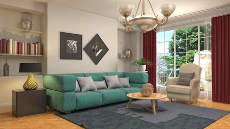 Interior of the living room. 3D illustration. 写真素材 - 131733045