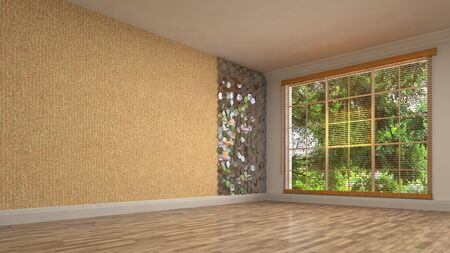 Empty interior with window. 3d illustration. 写真素材 - 131732027