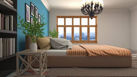 Bedroom interior. Bed. 3d illustration. 写真素材 - 131732038