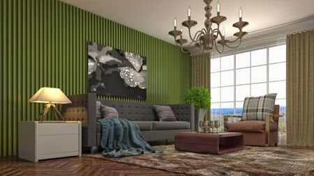 Interior of the living room. 3D illustration. 写真素材 - 131732980