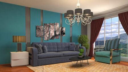 Interior of the living room. 3D illustration. 写真素材 - 131732310