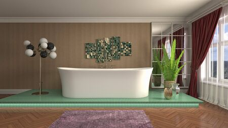 Bathroom interior. 3D illustration. Bath. Banco de Imagens
