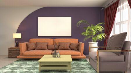 mock up poster frame in interior background. 3D Illustration. Stock fotó