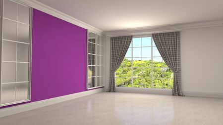 Empty interior with window. 3d illustration. 写真素材 - 131733053