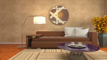 Interior of the living room. 3D illustration. 写真素材 - 131732155