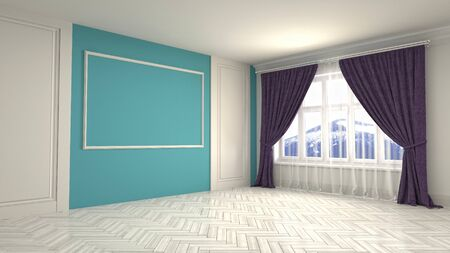 Empty interior with window. 3d illustration. 写真素材 - 131732162