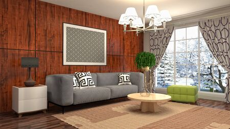 Interior of the living room. 3D illustration. 写真素材 - 131732163