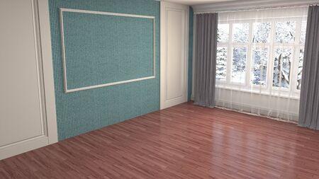 Empty interior with window. 3d illustration. 写真素材 - 131732095