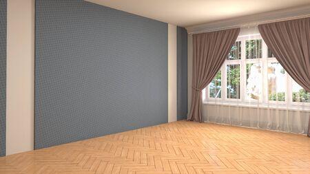 Empty interior with window. 3d illustration. 写真素材 - 131732101