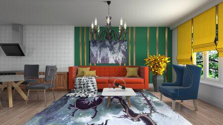 Interior de la sala de estar. Ilustración 3D. Foto de archivo
