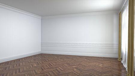 Leeg interieur met raam. 3D illustratie.