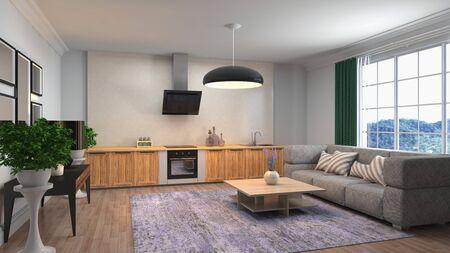 Interno del soggiorno. illustrazione 3D.