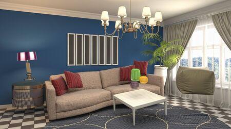 Zero Gravity Sofa hovering in living room. 3D Illustration.