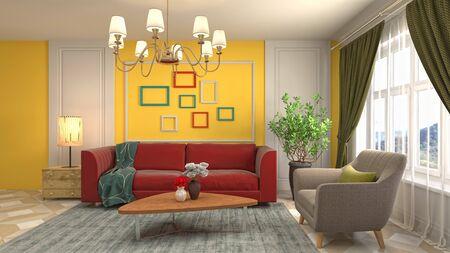 Innenraum des Wohnzimmers. 3D-Darstellung.