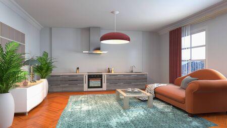 Innenraum des Wohnzimmers. 3D-Darstellung. Standard-Bild