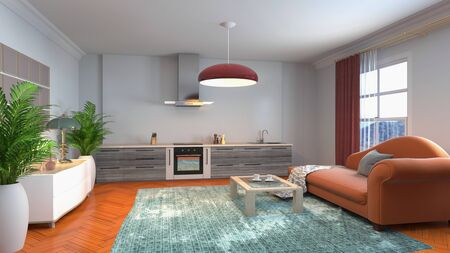 Interior of the living room. 3D illustration. Stockfoto
