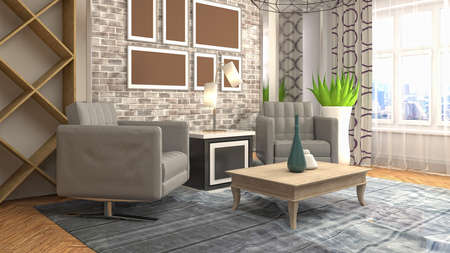 Interior of the living room. 3D illustration. Imagens