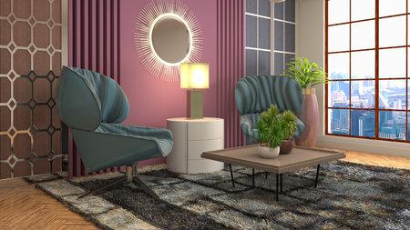 Interior of the living room. 3D illustration.