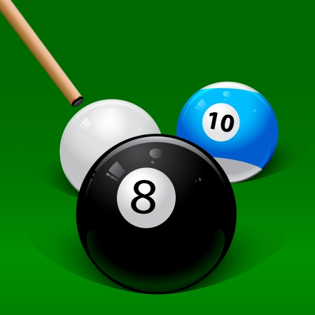 8 ball pool: hit the cue on a white ball billiard