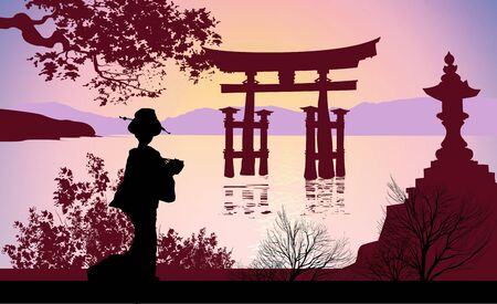 Geisha and Mount Fuji Stock Photo