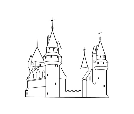 Old castle silhouette Stock Vector - 13857043