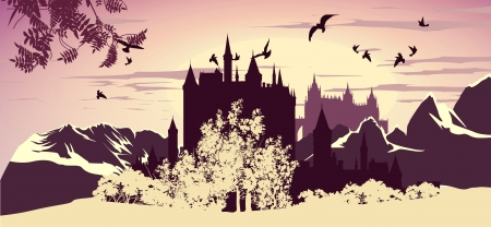 fairy silhouette: picture of a beautiful ancient castle in the mountains Illustration