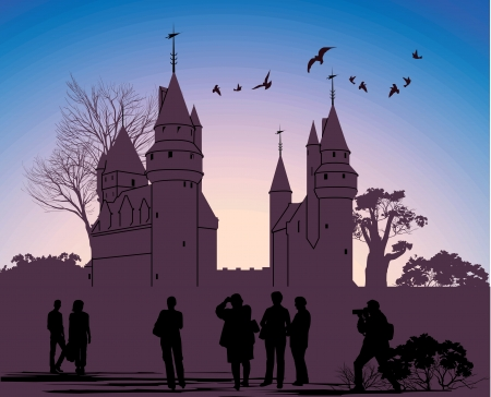 silhouettes of people against the backdrop of an ancient castle Vector
