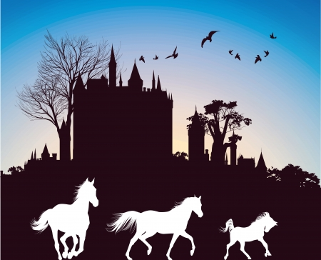 silhouettes of three horses running in the background of the ancient castle at sunrise Vector