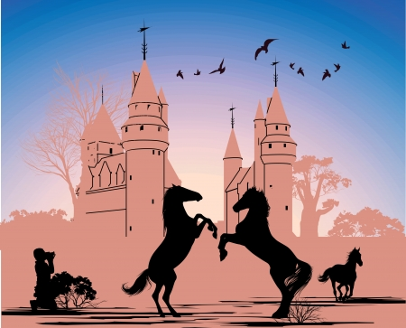 Two horses stand on their hind legs against the backdrop of an old castle Vector