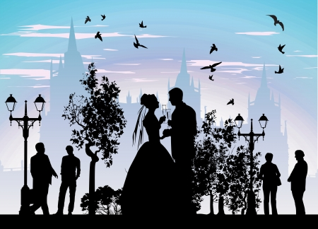 Bride groom drinking champagne in the streets of the beautiful city Vector