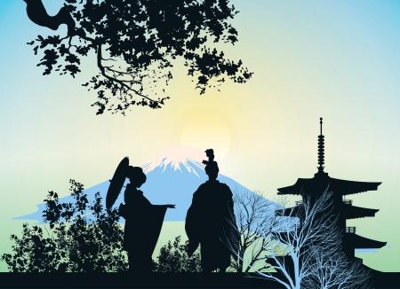 geisha kimono: beautiful picture of a geisha, mountains and trees