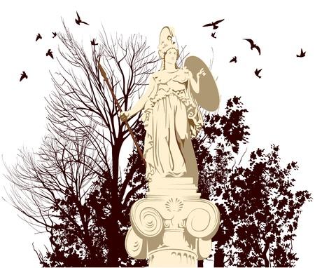 greek god: statue of greek goddess of wisdom Athena on the trees background Illustration