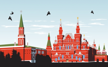 red square moscow: Birds fly over Red Square