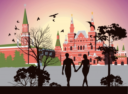 boy and girl holding hands and walking in the Red Square Vector