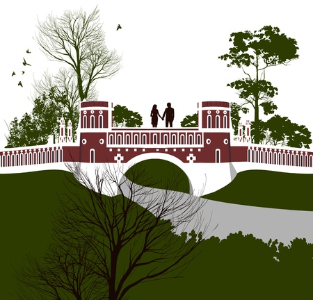 tsaritsino: boy and girl holding hands on the bridge