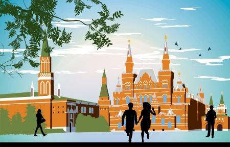 city square: boy and girl running in the red Square hand in hand