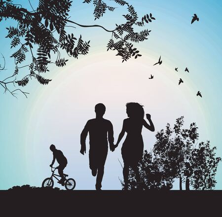 chateau: boy and girl running through the park holding hands Illustration