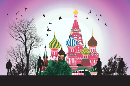 moscow churches: business people flow along the Red Square Illustration