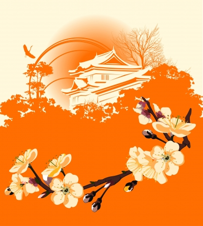 card with a flower sakura and Japanese houses Vector