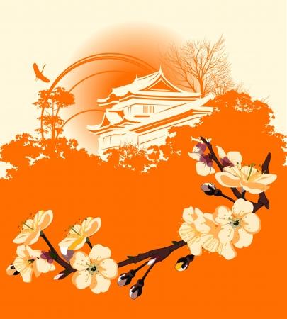 ponte giapponese: scheda con un fiore sakura e le case giapponesi
