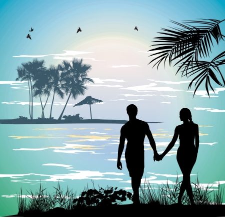 couple holding hands on the beach going on the ocean Stock Vector - 13921526