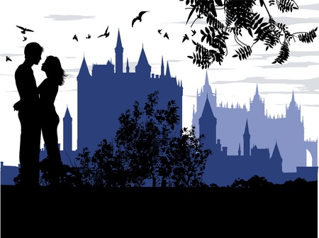 adventure story: couple hugging against the backdrop of an ancient palace