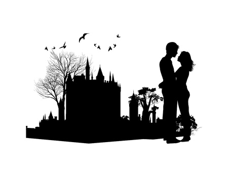 couple in love against the backdrop of an ancient castle Vector