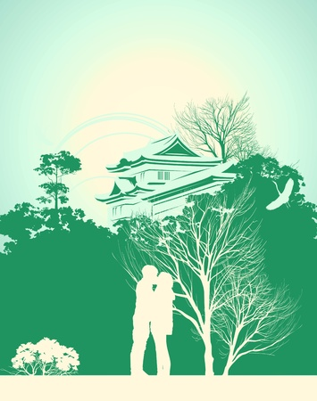 couple kissing in the background of the Japanese House Vector
