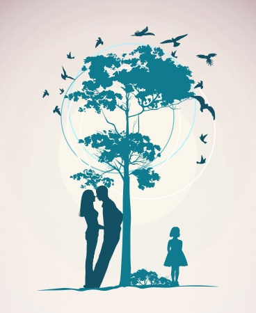 couple standing near a tree with a little girl Stock Vector - 13920631